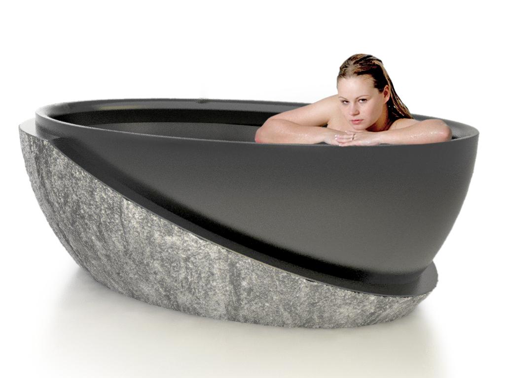 Roma natural stone bathtub for Limestone bathtub